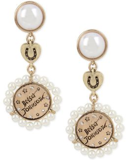 Gold-tone Pavé Imitation Pearl Triple Drop Earrings