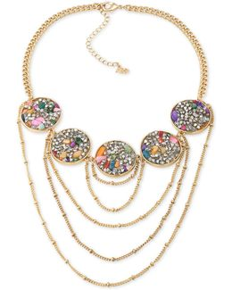 Gold-tone Stone And Crystal Statement Necklace