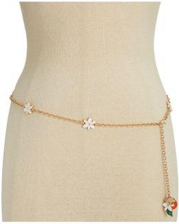 Gold-tone Floral Chain Belt