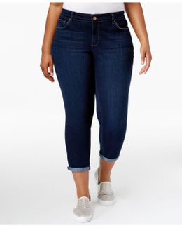 Trendy Plus Size Royal Wash Cuffed Skinny Jeans