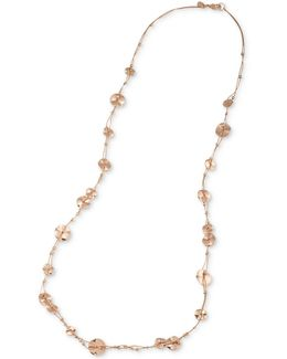 Rose Gold-tone Wavy Disc Long Statement Necklace