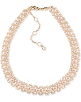 Gold-tone Imitation Pink Pearl Woven Collar Necklace