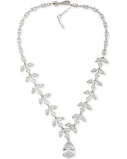 Silver-tone Crystal Teardrop Statement Necklace