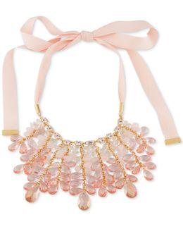 Garden Party Ribbon & Rose Quartz Statement Necklace