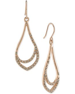 Rose Gold-tone Pavé Drop Hoop Earrings