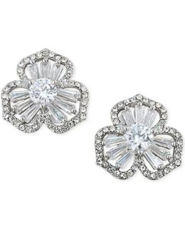 Silver-tone Crystal Cluster Flower Stud Earrings