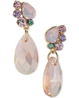 Gold-tone Stone And Crystal Drop Earrings