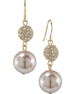 Gold-tone Imitation Pearl And Crystal Double Drop Earrings