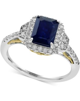 Sapphire (1-1/2 Ct. T.w.) And Diamond (3/8 Ct. T.w.) Ring In 14k Gold And White Gold