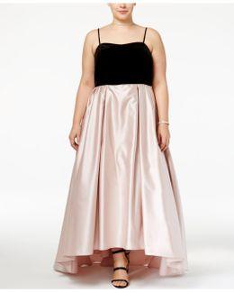 Plus Size Velvet Satin Gown