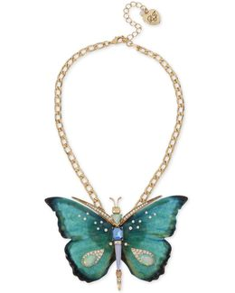 Gold-tone Multi-stone Butterfly Pendant Necklace
