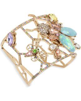 Gold-tone Multi-stone Garden Motif Cuff Bracelet