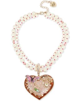 Faux-pearl Multi-strand Heart Pendant Necklace