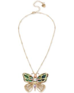 Gold-tone Multi-stone Butterfly Pin Pendant Necklace