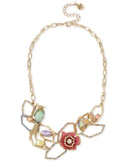 Gold-tone Multi-stone Geometric Floral Statement Necklace