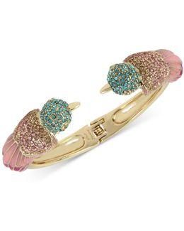 Gold-tone Multi-crystal Bird Hinged Bangle Bracelet