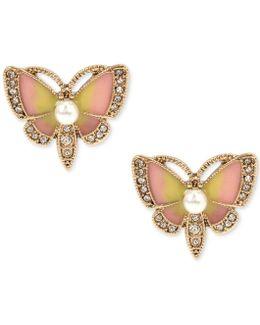 Gold-tone Multi-stone Butterfly Stud Earrings