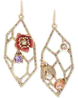 Gold-tone Multi-stone Geometric Cut-out Drop Earrings