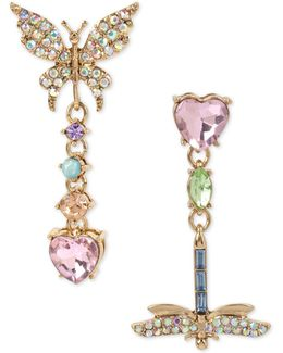 Pavé Butterfly & Dragonfly Mismatched Drop Earrings