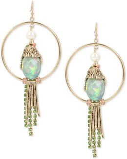 Gold-tone Multi-stone Bird Drop Hoop Earrings