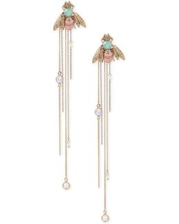 Two-tone Multi-stone Bumblebee Linear Drop Earrings