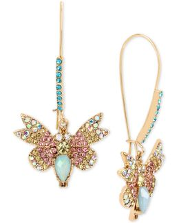 Gold-tone Multi-crystal Butterfly Drop Earrings