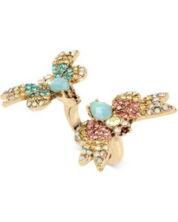Gold-tone Multi-crystal Butterfly Ring