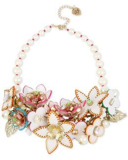 Flower & Faux-pearl Statement Necklace