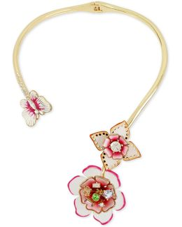 Gold-tone Multi-crystal Garden Theme Hinged Open Collar Necklace