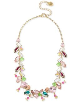 Gold-tone Multi-crystal Necklace