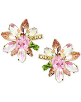 Gold-tone Multi-crystal Flower Stud Earrings