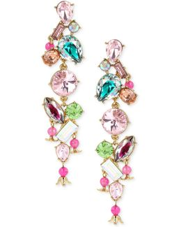 Gold-tone Multi-crystal Linear Drop Earrings