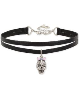 Silver-tone Pavé Skull Charm Imitation Leather Double Row Choker Necklace