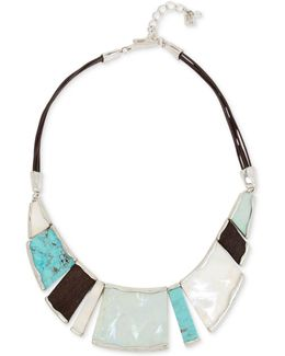 Multi-stone Leather Statement Necklace