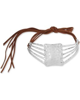 Silver-tone Sculptural Brown Suede Choker Necklace