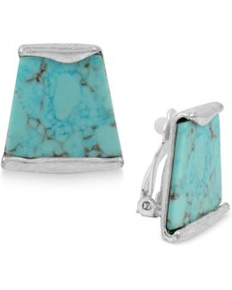 Silver-tone Blue Stone Clip-on Stud Earrings