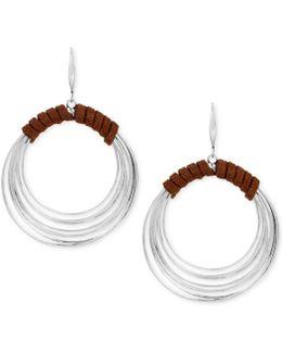 Silver-tone Suede Wrapped Drop Hoop Earrings