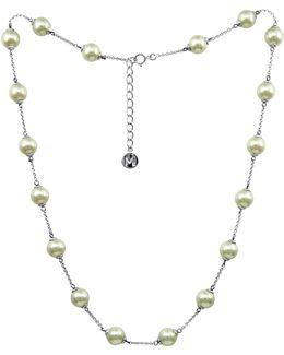 Sterling Silver Necklace, Imitation Pearl Illusion