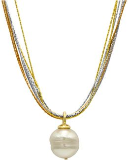 Sterling Silver And 18k Gold Over Sterling Silver Pendant, Imitation Baroque Pearl