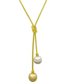 Necklace, Organic Man-made Baroque Pearl Love Knot Lariat