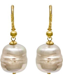 18k Gold Over Sterling Silver Earrings, Imitation Baroque Pearl Drop