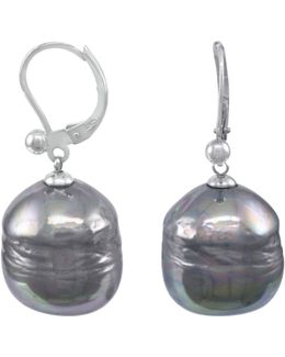 Sterling Silver Earrings, Organic Man-made Baroque Pearl