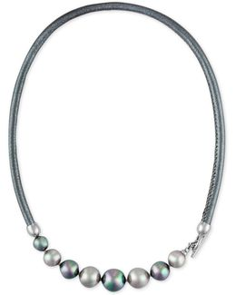 Silver-tone Gray Imitation Pearl Leather Collar Necklace