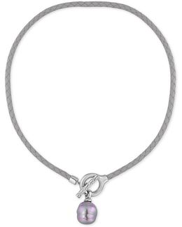Silver-tone Gray Imitation Pearl Braided Leather Toggle Necklace