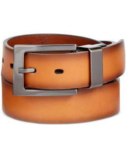 Men's Faux-leather Cut-edge Reversible Belt