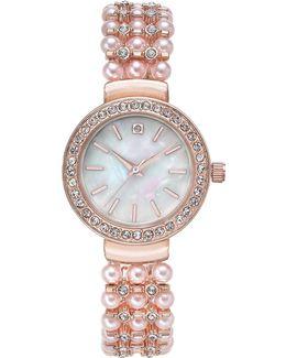 Women's Pavé & Pink Imitation Pearl Bracelet Watch 33mm
