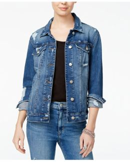 Ripped Cotton Denim Jacket