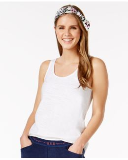Solid Sleep Tank Top With Animal-print Headband