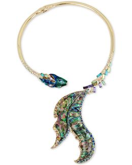 Gold-tone Multi-stone Fish Hinged Collar Necklace