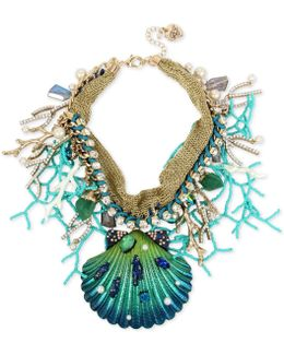 Gold-tone Multi-stone Shell Statement Necklace